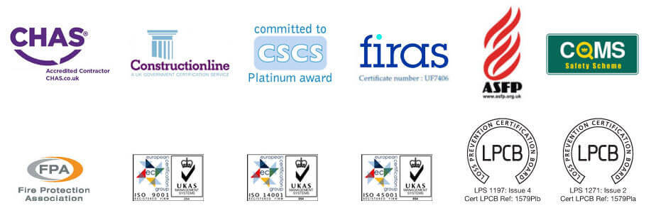 Fire Delay Passive Fire Protection accreditation logos